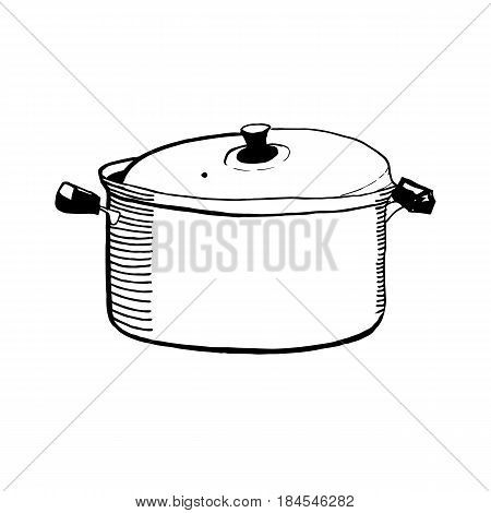Hand drawn sketch of a closed casserole or pan for cooking vector illustration cartoon style