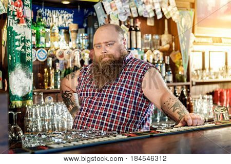 Portrait of serene bearded man standing at counter.He selling alcoholic drinks