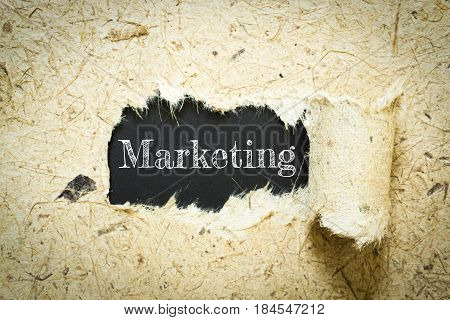 Text Marketing on paper black has Mulberry paper background you can apply to your product.
