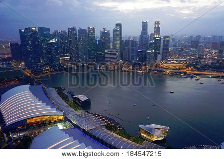 Singapore, Singapore - February 12, 2017: Downtown skyscrapers and Singapore river view in Singapore.
