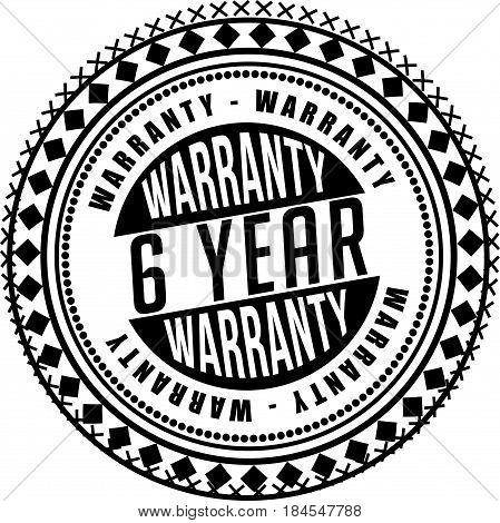 6 year warranty icon vintage rubber stamp guarantee