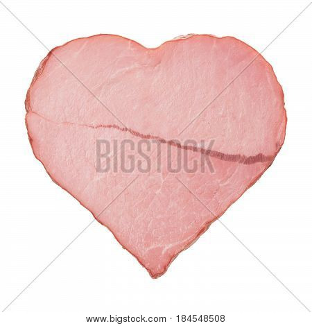 meat in the shape of a heart with a scar from myocardial infarction