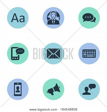 Vector Illustration Set Of Simple User Icons. Elements Cedilla, International Businessman, Loudspeaker And Other Synonyms Debate, Considering And Loudspeaker.