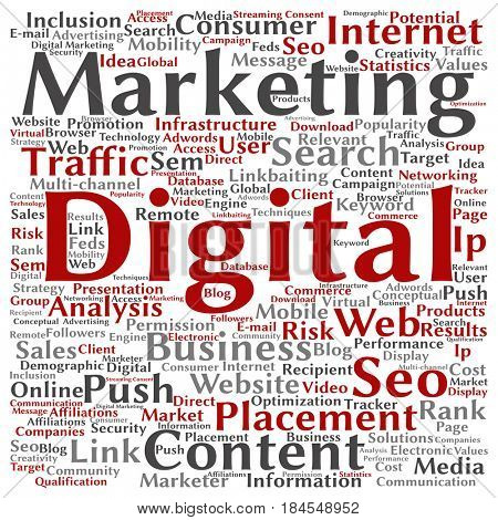 Concept or conceptual red digital marketing seo traffic square word cloud isolated on background. Collage of business, market, content, search, web push, placement or communication technology text