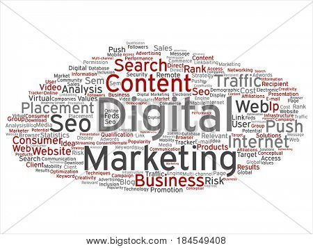 Concept or conceptual red gray digital marketing seo traffic abstract word cloud isolated on background. Collage of business, market, content search, web push, placement, communication technology text