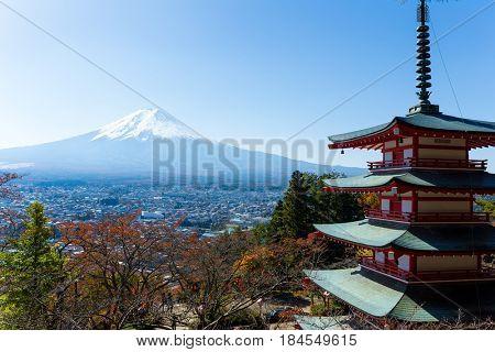 Mount Fuji and Chureito Pagoda at autumn season