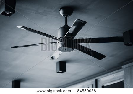 ceiling fan still life black and white tone