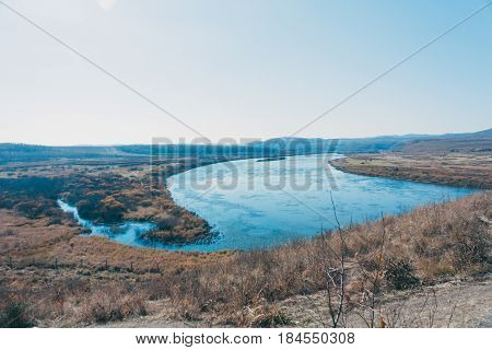 a moutain landscape with a river lake in forest in Inner Mongolia Hulunbeier