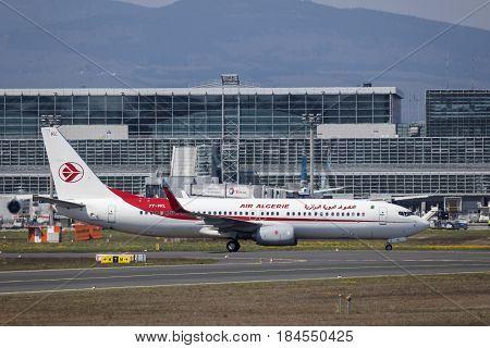 Frankfurt Germany - March 30 2017: Air Algerie Boeing 737-8D6 at the Frankfurt international airport