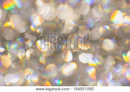 Blur Bokeh Of Light Pearl Diamond Rainbow Colorful Brightness Reflect Background.