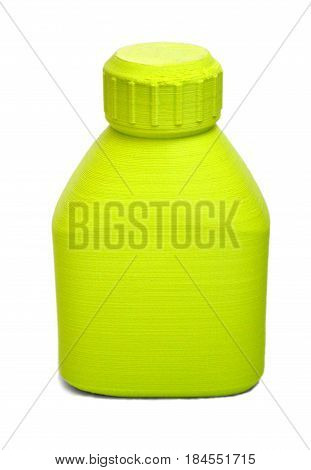Objects printed by 3d printer Isolated on white background. Bright colorful object. Bottle of green color. Automatic three dimensional 3d printer performs plastic modeling in laboratory.
