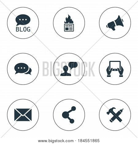 Vector Illustration Set Of Simple Blogging Icons. Elements Notepad, Site, Repair And Other Synonyms Megaphone, Hot And Discussion.