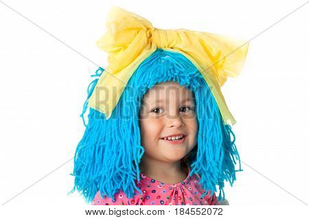 Funny little girl in costume with blue hair, isolated over white
