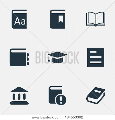 Vector Illustration Set Of Simple Reading Icons. Elements Journal, Tasklist, Alphabet And Other Synonyms Reading, Document And Notebook.