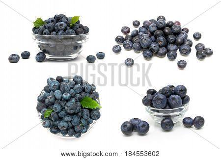 Ripe blueberries isolated on white background. Horizontal photo.