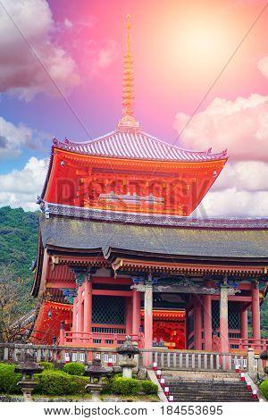Red Pagoda At Taisan-ji Temple Near Kiyomizu-dera Temple In Kyoto, Symbol Of Japanese Culture.