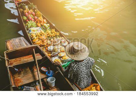 Fruit Boat Sale At Damnoen Saduak Floating Market. Damnoen Saduak Is A Popular Travel Tourist Destin
