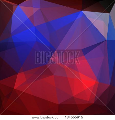 Background Made Of Red, Purple, Blue Triangles. Square Composition With Geometric Shapes. Eps 10