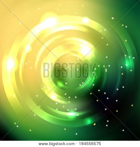 Abstract Background With Yellow, Green Luminous Swirling Backdrop. Vector Infinite Round Tunnel Of S