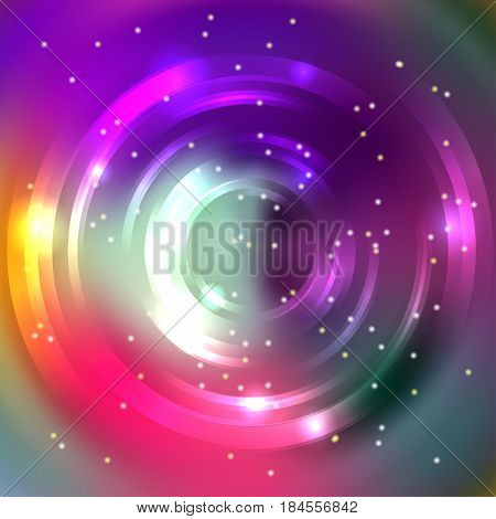 Abstract Circle Background, Vector Design. Vector Infinite Round Tunnel Of Shining Flares. Purple, P
