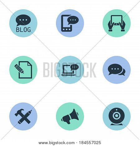 Vector Illustration Set Of Simple Blogging Icons. Elements Laptop, Site, Loudspeaker And Other Synonyms Discussion, Hand And Blog.
