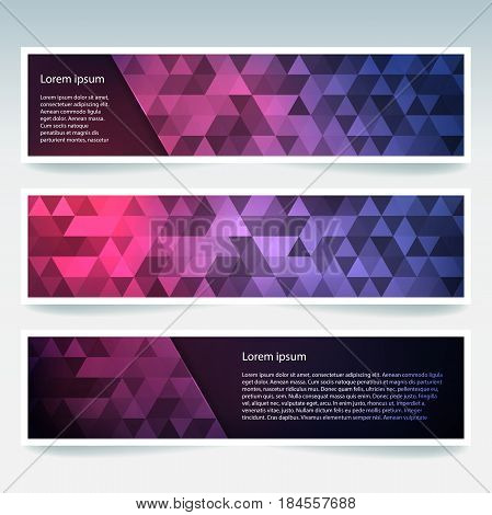Horizontal Banners Set With Pink, Purple, Blue, Polygonal Triangles. Polygon Background, Vector Illu