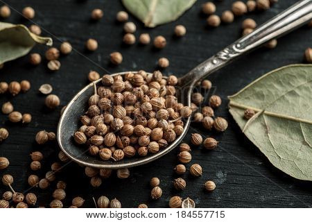Coriander Seeds In Metal Spoon And Dry Bay Leaves On A Black Wooden Table