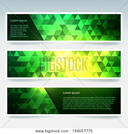 Horizontal Banners Set With Yellow, Green Polygonal Triangles. Polygon Background, Vector Illustrati
