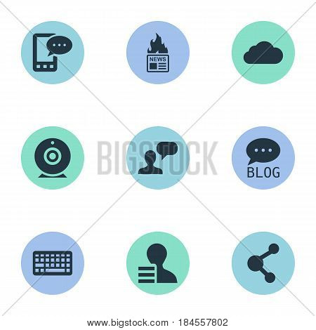 Vector Illustration Set Of Simple Newspaper Icons. Elements Man Considering, Keypad, Broadcast And Other Synonyms Laptop, Sky And Gazette.