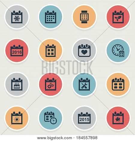 Vector Illustration Set Of Simple Plan Icons. Elements Reminder, Renovation Tools, Date And Other Synonyms Almanac, Winter And Calendar.