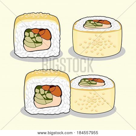 Golden dragon uramaki sushi roll with eel fish, sesame seeds, cream cheese, cucumber and avocado from different angles. Vector set isolated on a light background.