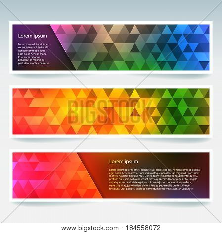 Horizontal Colorful Banners Set With Polygonal Triangles. Polygon Background, Vector Illustration. Y