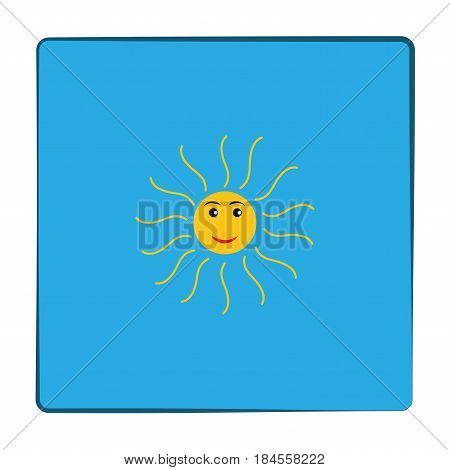 The sun sign in blue square. Orange solar mark. Bright sunny icon good mood. Isolated logo spring summer. Symbol hot warm sunlight and good weather. Flat vector image. Vector illustration.