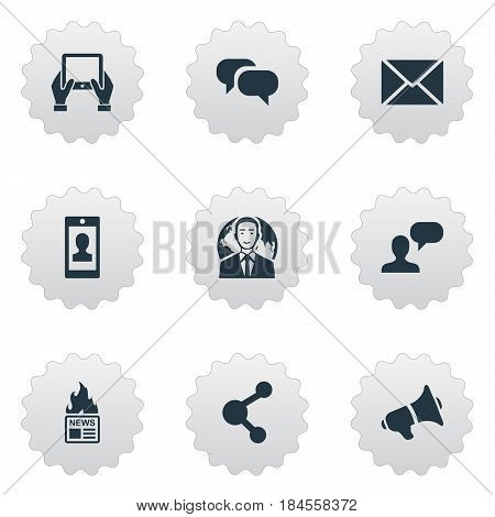 Vector Illustration Set Of Simple User Icons. Elements Notepad, International Businessman, Gossip And Other Synonyms Conversation, International And Share.