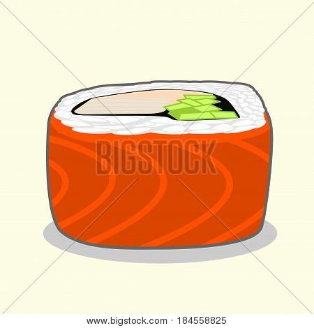 Red dragon uramaki sushi roll with salmon fish, cucumber, avocado, cream cheese and japanese omelette. Vector illustration isolated on a light background.