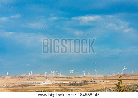 Windmill In Grassland, Prairie In Inner Mongolia, China