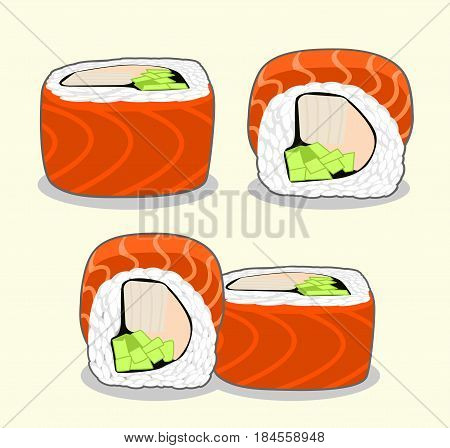 Vector set of red dragon uramaki sushi roll with salmon fish, cucumber, avocado, cream cheese and japanese omelette from different angles isolated on a light background.