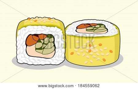 Tasty green dragon uramaki sushi roll with eel fish, avocado, cucumber, sesame seeds cream cheese. Vector illustration isolated on a light background.