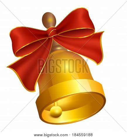 Last golden Bell and red bow. Isolated on white vector illustration