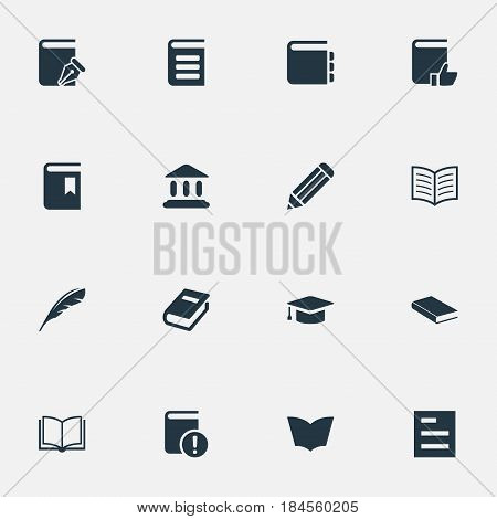 Vector Illustration Set Of Simple Knowledge Icons. Elements Encyclopedia, Academic Cap, Notebook And Other Synonyms Blank, Bookmark And Pencil.