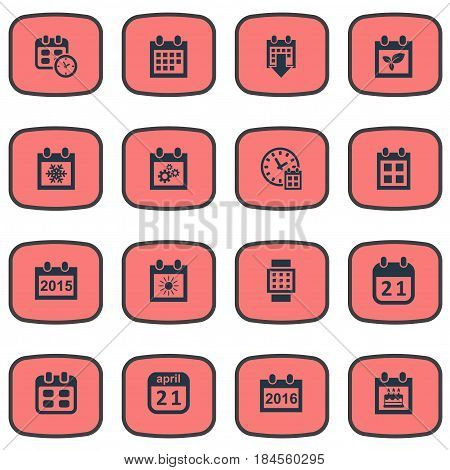 Vector Illustration Set Of Simple Date Icons. Elements Remembrance, Date Block, Event And Other Synonyms Almanac, Snowflake And Birthday.