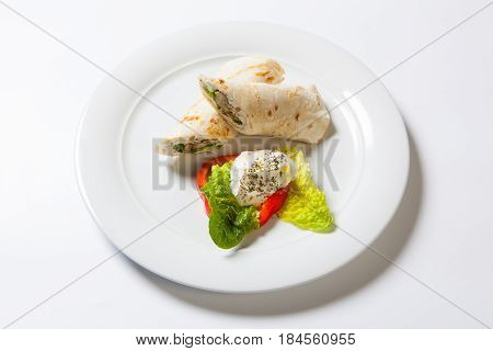 Rolls From Pita Bread Stuffed With Meat Salad And Cheese