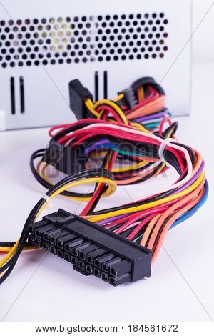 Color cable on white background Jack, Assorted, Assortment, Video, Details, Lan, Various, Networking