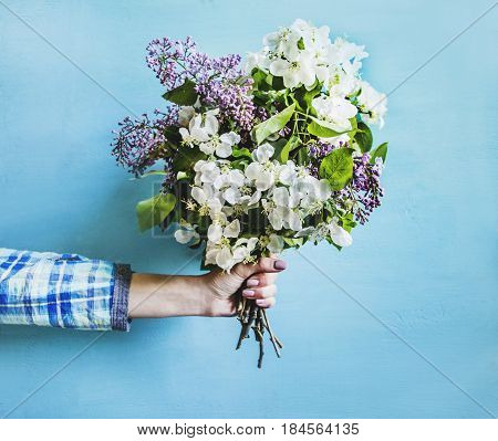 Bouquet of spring flowers in a female hand on a blue background