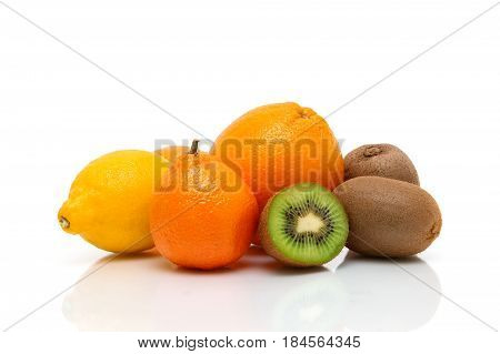 Ripe fruit close-up on a white background. Horizontal photo.