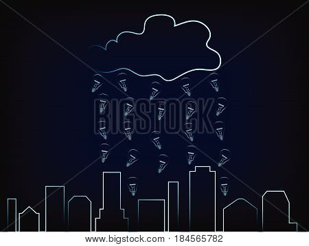 city skyline with rain of ideas above it, concept of innovation hubs (vector on mesh background)