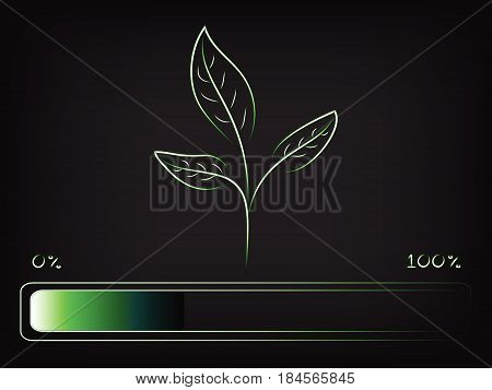 Green Seedling Leaves Growth With Progress Bar Loading,