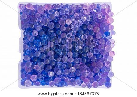 close-up silica gel in package on white