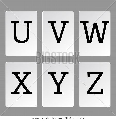 Alphabet letters on cards A-Z, vector illustration.