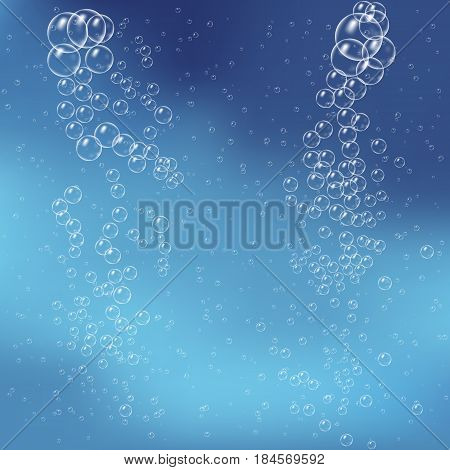 Glossy realistic and translucent aqua bubble illustration on blue background
